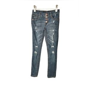 Vanilla Star Ripped Button Fly Skinny Jeans